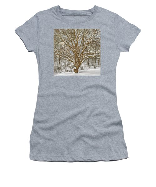 White Oak In Snow Women's T-Shirt (Athletic Fit)