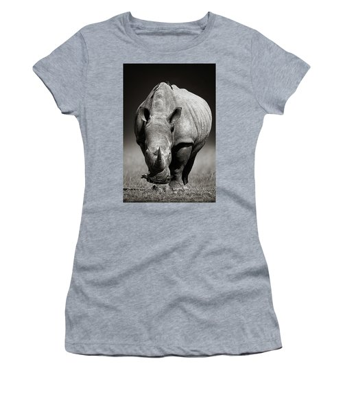 White Rhinoceros  In Due-tone Women's T-Shirt