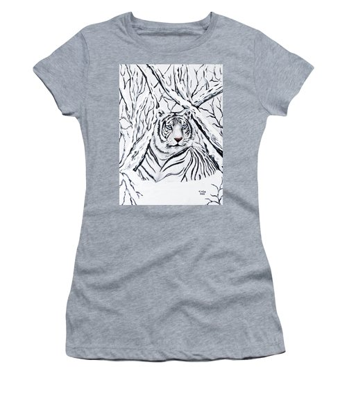 Women's T-Shirt (Junior Cut) featuring the painting White Tiger Blending In by Teresa Wing