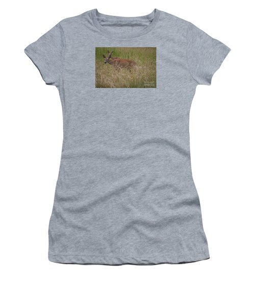 Whitetail With Fawn 20120707_09a Women's T-Shirt (Junior Cut) by Tina Hopkins