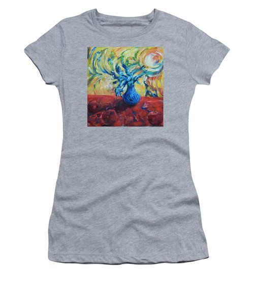 Women's T-Shirt (Athletic Fit) featuring the painting Wild Flower by Yulia Kazansky