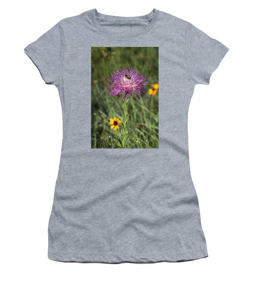 Women's T-Shirt (Athletic Fit) featuring the photograph Wildflowers And Friend by Sheila Brown