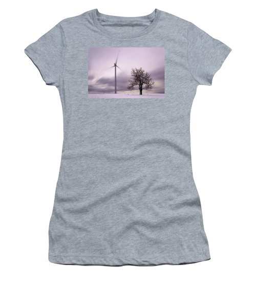 Wind Power Station, Ore Mountains, Czech Republic Women's T-Shirt (Athletic Fit)