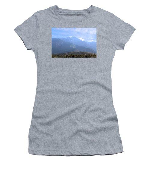 Women's T-Shirt (Junior Cut) featuring the photograph Windmills At San Jacinto Mt by Viktor Savchenko
