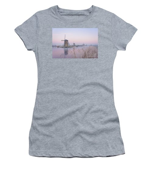 Windmills In The Netherlands In The Soft Sunrise Light In Winter Women's T-Shirt (Athletic Fit)