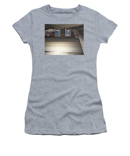 Women's T-Shirt (Junior Cut) featuring the photograph Window Hands by Christopher Woods