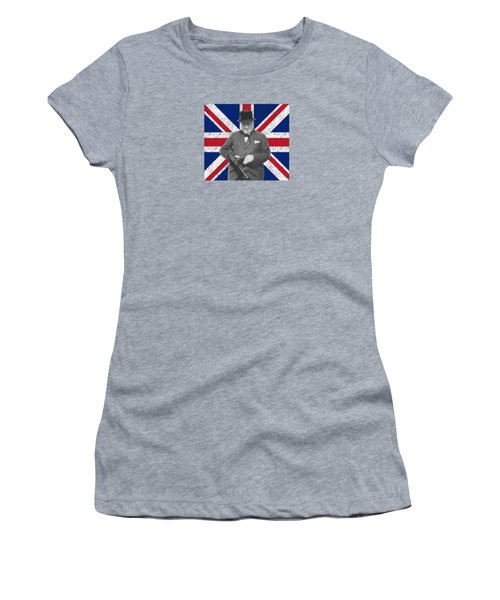 Winston Churchill And His Flag Women's T-Shirt (Junior Cut) by War Is Hell Store