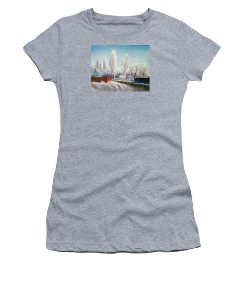 Winter At Bonanza Women's T-Shirt (Junior Cut) by Sherril Porter