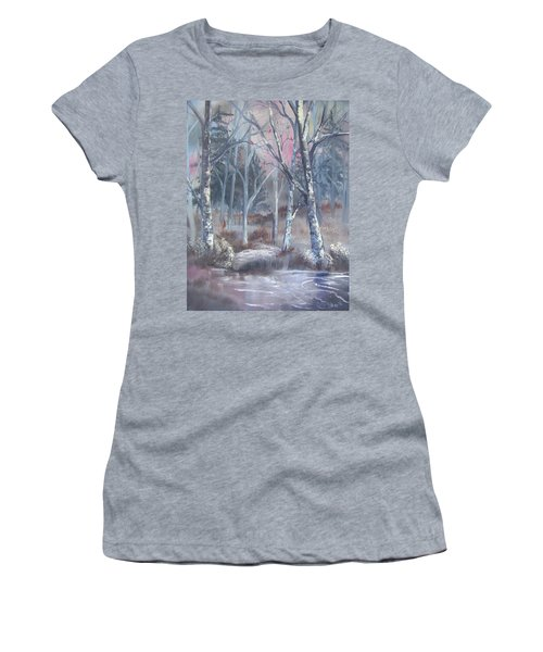 Women's T-Shirt featuring the painting Winter Cardinals by Deleas Kilgore