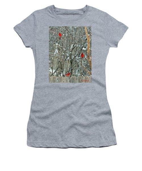 Winter Cardinals Women's T-Shirt (Athletic Fit)