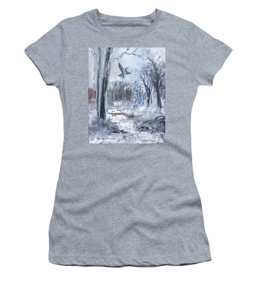 Women's T-Shirt (Athletic Fit) featuring the painting Winter Caws by Robin Maria Pedrero