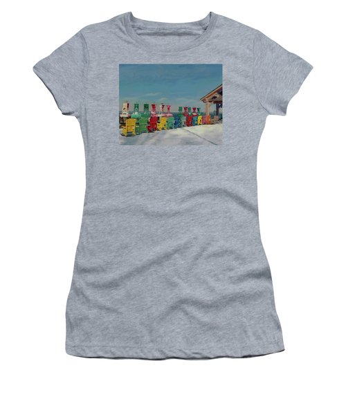 Women's T-Shirt (Athletic Fit) featuring the painting Winter Sentries by Lynne Reichhart