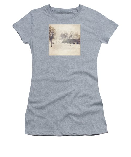 Winter Snow Storm At The Farm Women's T-Shirt (Athletic Fit)
