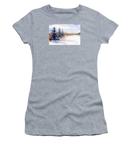 Winter Storm Watercolor Landscape Women's T-Shirt