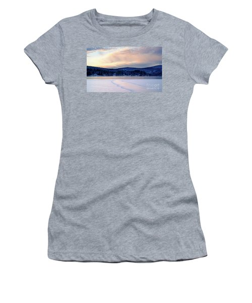 Winter Sunset On Wilson Lake In Wilton Me  -78091-78092 Women's T-Shirt