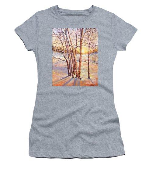Winter Trees Sunrise Women's T-Shirt (Junior Cut) by Lou Ann Bagnall