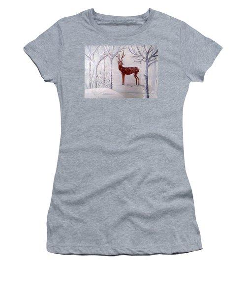 Winter Wonderland - Painting Women's T-Shirt (Junior Cut) by Veronica Rickard