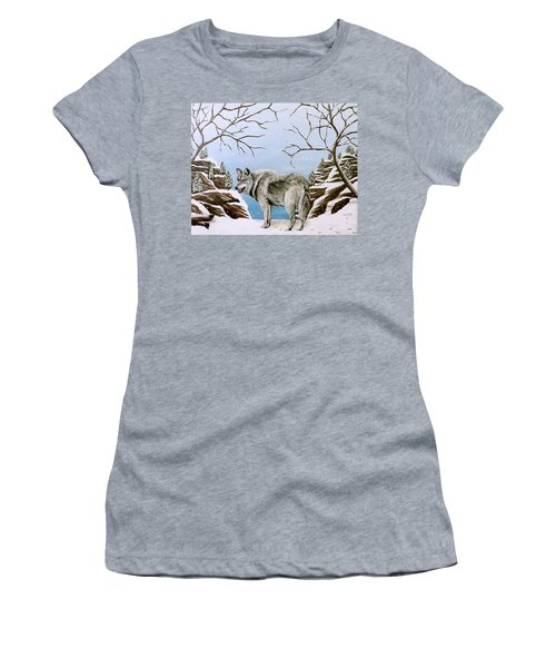 Women's T-Shirt (Junior Cut) featuring the painting Wolf In Winter by Teresa Wing