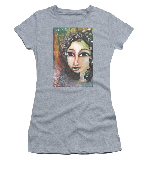 Women's T-Shirt (Athletic Fit) featuring the mixed media Woman - Indian by Prerna Poojara
