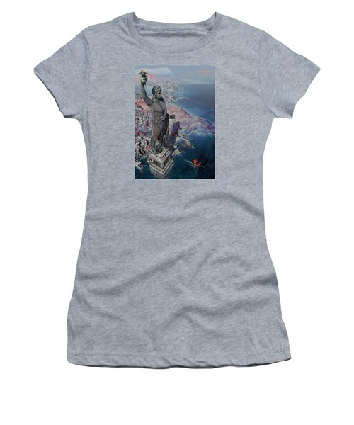Women's T-Shirt (Junior Cut) featuring the digital art wonders the Colossus of Rhodes by Te Hu