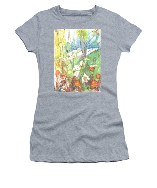 Women's T-Shirt (Junior Cut) featuring the painting Woodland Garden by Renate Nadi Wesley