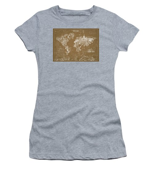 Women's T-Shirt (Junior Cut) featuring the digital art World Map Blueprint 4 by Bekim Art