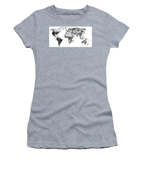 World Map In Graphite Women's T-Shirt (Junior Cut) by Heidi Kriel