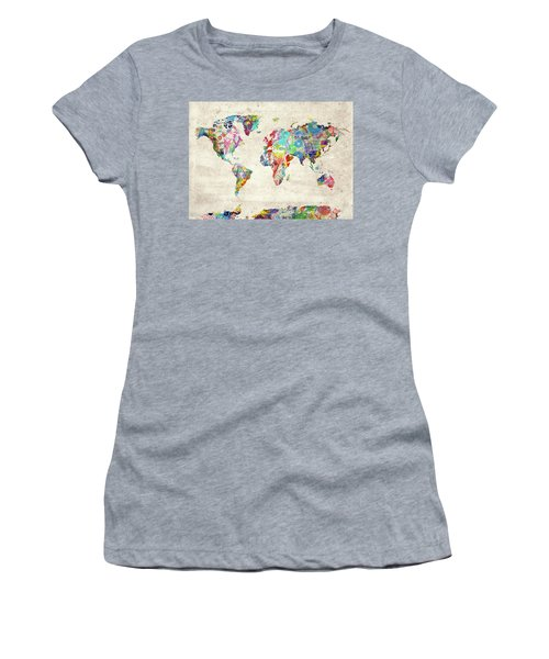 Women's T-Shirt (Junior Cut) featuring the digital art World Map Music 12 by Bekim Art