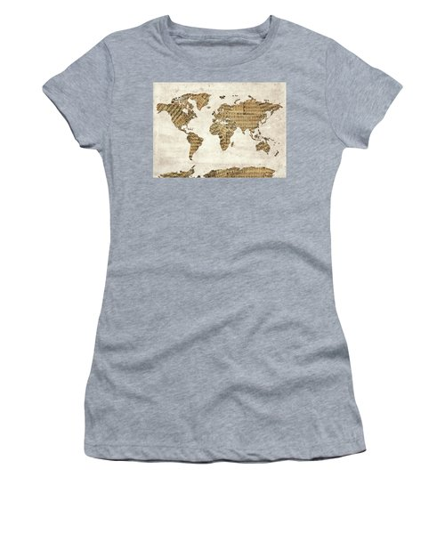 Women's T-Shirt (Junior Cut) featuring the digital art World Map Music 9 by Bekim Art