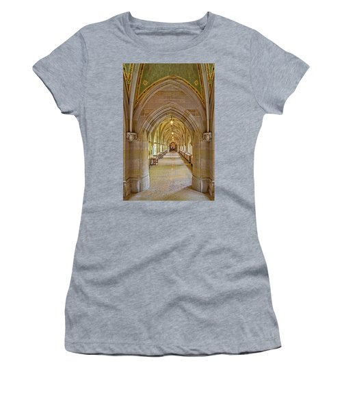 Women's T-Shirt (Athletic Fit) featuring the photograph Yale University Cloister Hallway by Susan Candelario