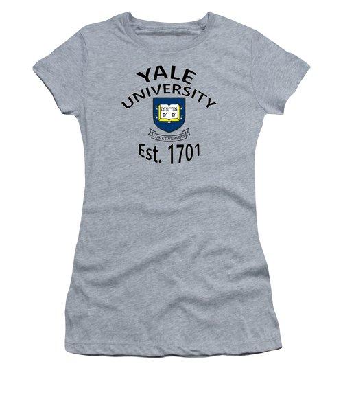 Women's T-Shirt (Junior Cut) featuring the digital art Yale University Est 1701 by Movie Poster Prints