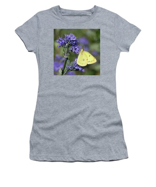 Yellow And Indigo Women's T-Shirt (Athletic Fit)