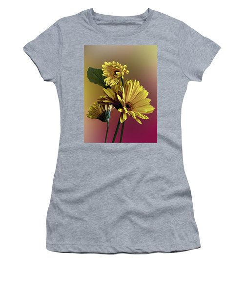 Yellow Daisy Trio Women's T-Shirt (Junior Cut) by Judy  Johnson
