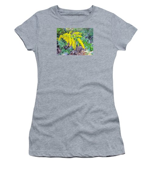 Yellow Flowers On Green Women's T-Shirt