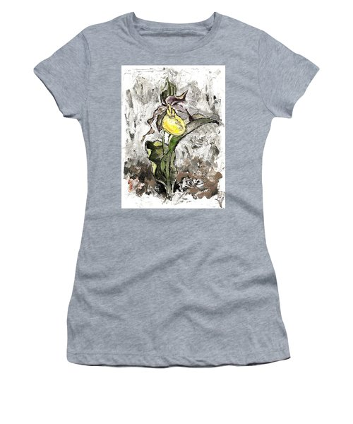 Yellow Lady's Slipper Women's T-Shirt (Athletic Fit)