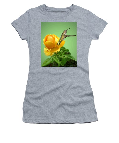 Yellow Rose And Hummingbird 2 Women's T-Shirt (Athletic Fit)