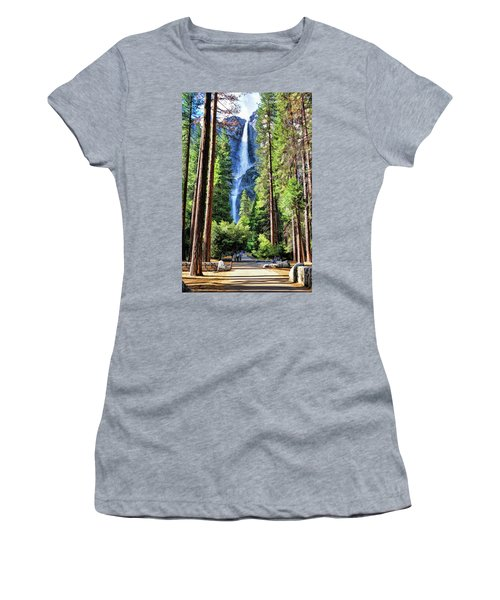 Yosemite National Park Bridalveil Fall Trees Women's T-Shirt (Athletic Fit)