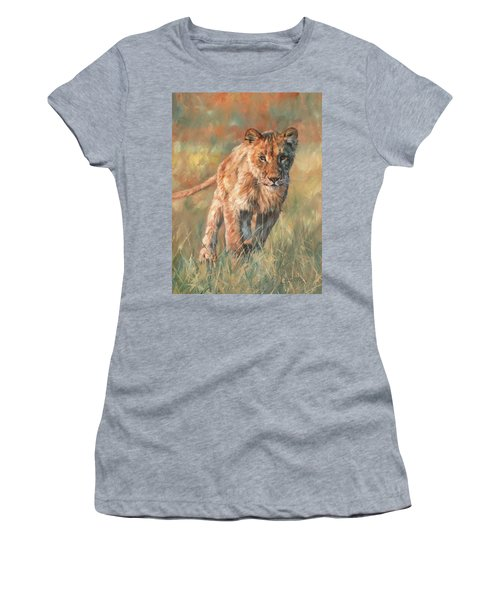 Women's T-Shirt (Junior Cut) featuring the painting Youn Lion by David Stribbling