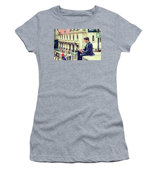 Young Businessman Working On Wall Street In New York Women's T-Shirt