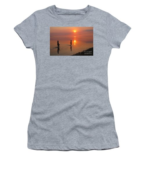 Young Fishermen At Sunset Women's T-Shirt