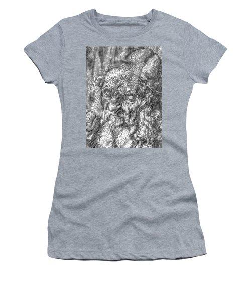Women's T-Shirt (Junior Cut) featuring the mixed media Yury Bashkin   Known Head by Yury Bashkin