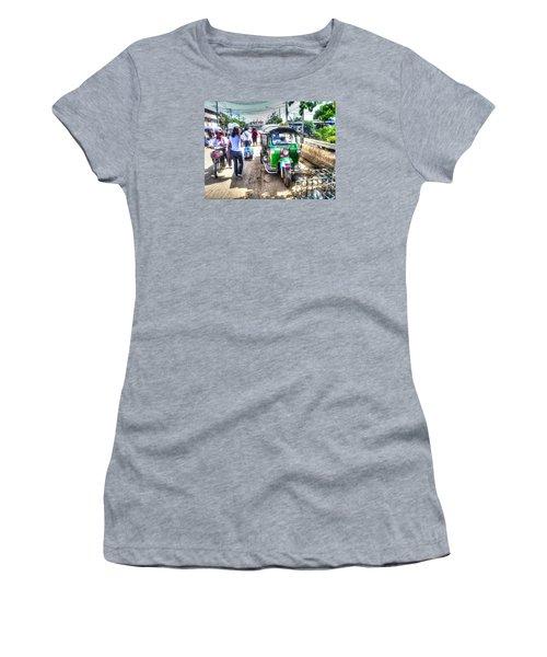 Women's T-Shirt (Junior Cut) featuring the pyrography Yury Bashkin Street Ost by Yury Bashkin