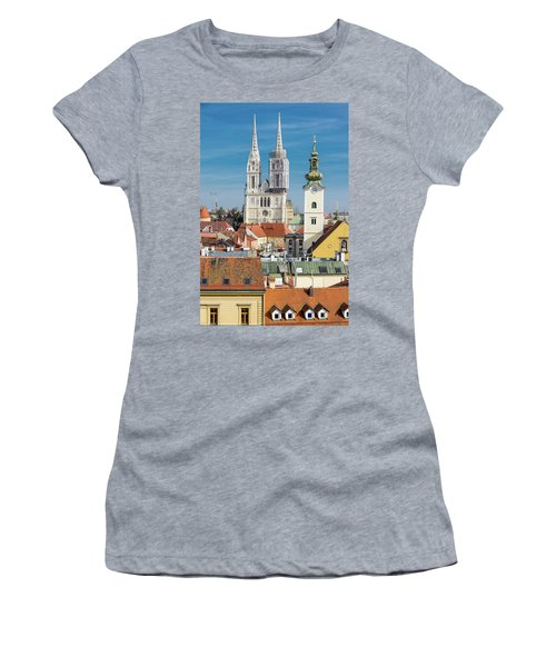 Zagreb Cathedral And St. Mary's Church Women's T-Shirt (Junior Cut) by Steven Richman