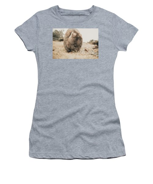 Women's T-Shirt featuring the photograph Adorable Large Wombat During The Day Looking For Grass To Eat by Rob D Imagery