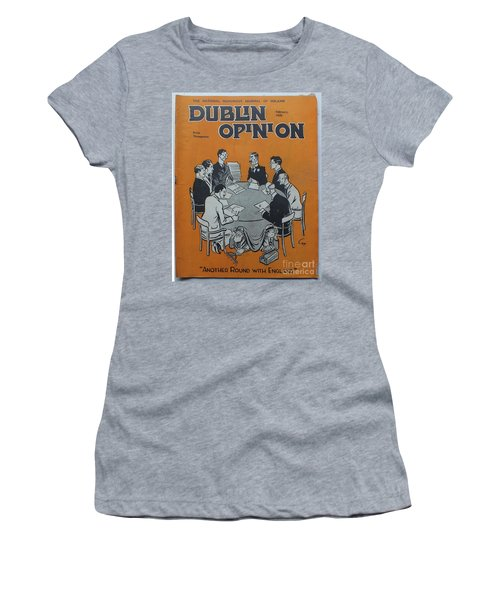 Women's T-Shirt featuring the painting Feb 1938 Dublin Opinion by Val Byrne