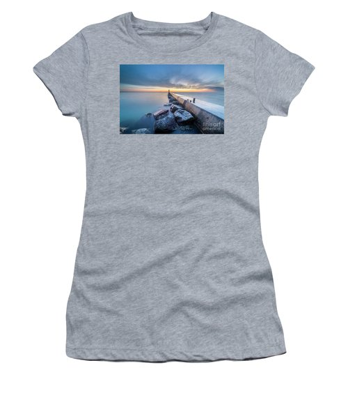 Frankfort Pier At Dusk In Winter Women's T-Shirt