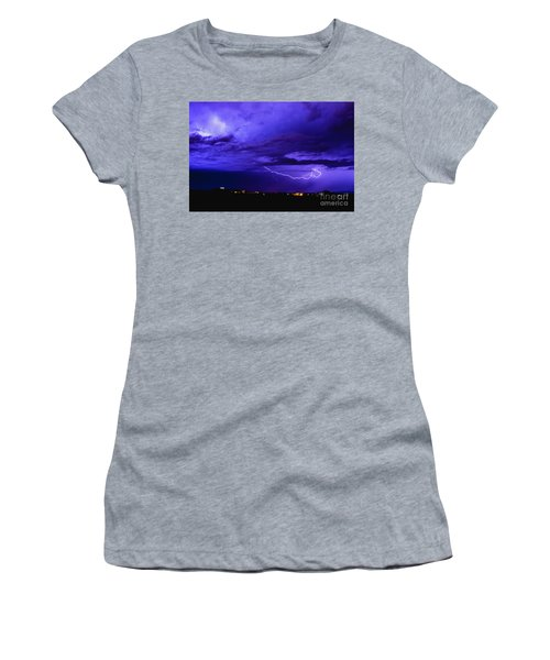 Rays In A Night Storm With Light And Clouds. Women's T-Shirt