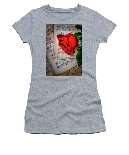 Red Rose On Sheet Music Women's T-Shirt