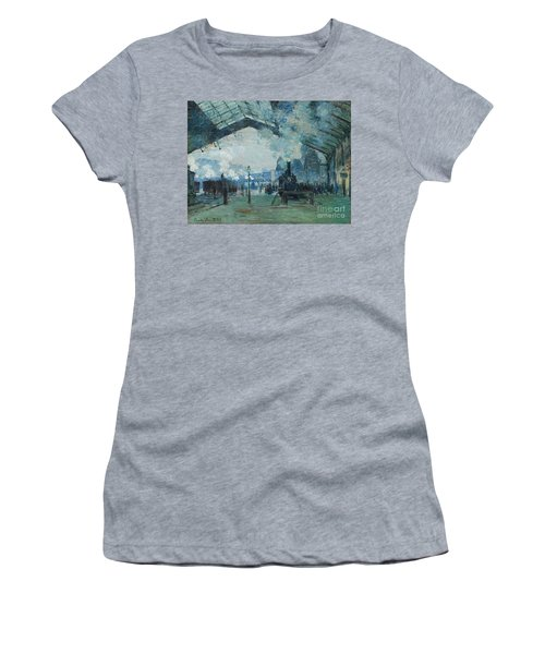 Women's T-Shirt featuring the digital art Arrival Of The Normandy Train, Gare Saint-lazare by Claude Monet