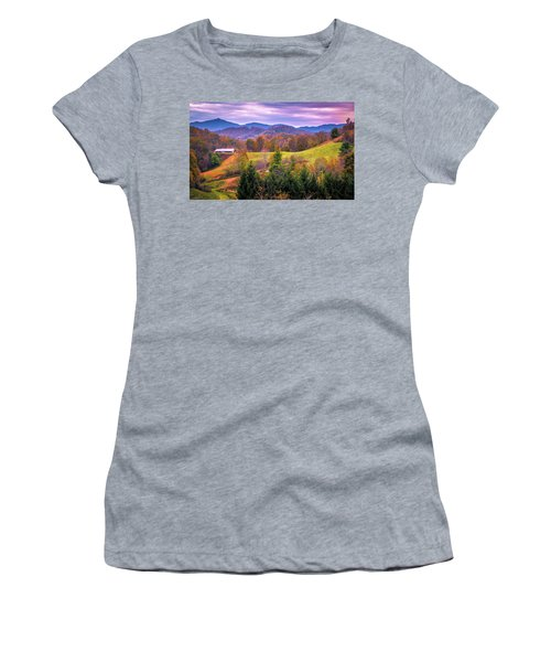 Women's T-Shirt featuring the photograph Autumn Season And Sunset Over Boone North Carolina Landscapes by Alex Grichenko